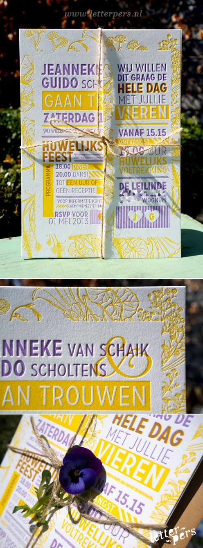 letterpers_letterpress_wedding_trouwkaart_jeanneke_Guido_tuinfeest_paars_geel_bloemen