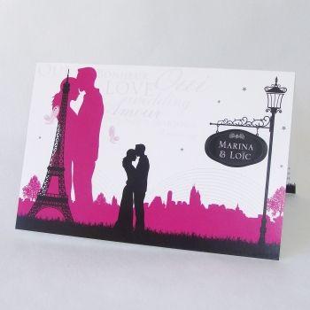 """Faire-part de mariage """"Love in the city"""" Paris Tour Eiffel FM03-ROM-14"""