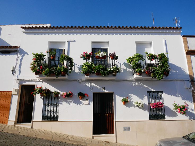 Floral house in the white painted village of Sanlucar de Guadiana, Spain