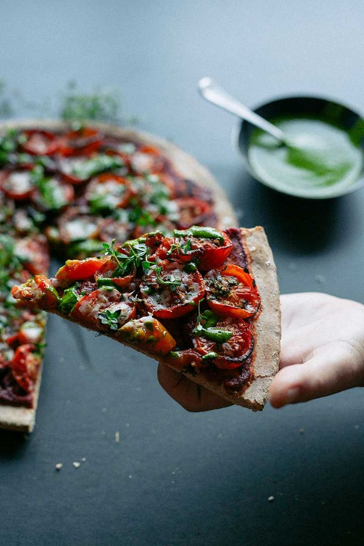 Roasted cherry tomato pizza with basil oil | Real Food School