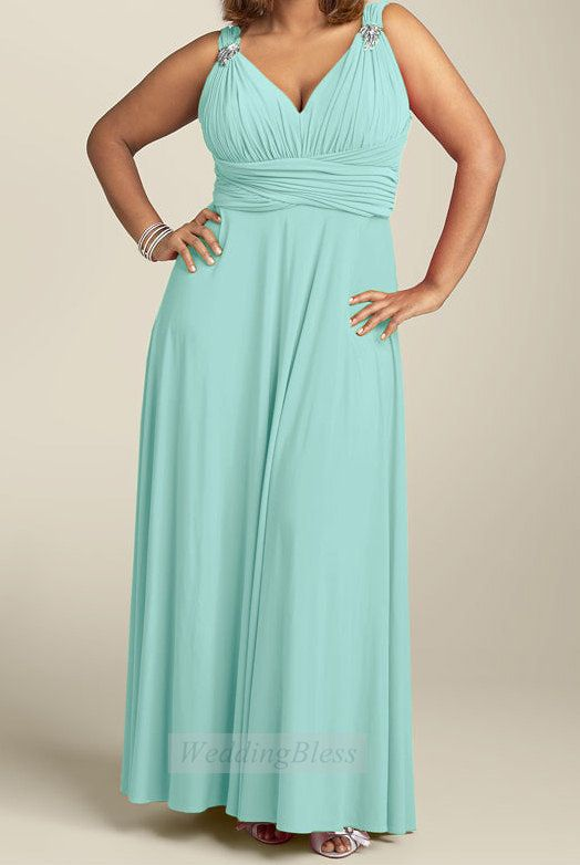 Plus Size Bridesmaid Dress Mint Green Dress with Straps
