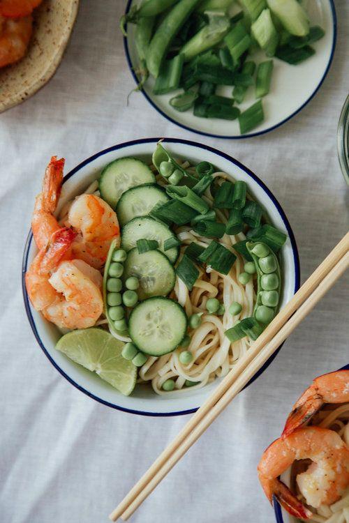 Cold Udon Noodle Bowls with Shrimp and Sesame-Ginger Dressing