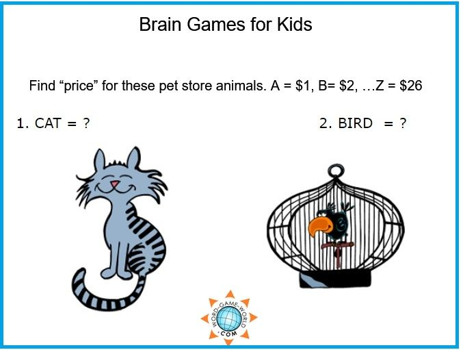 These Brain Games for Kids are a lot of fun! Challenge your kids to find the pet store prices in this puzzler where A = $1, B = $2 and so on. Lots of extension activities are included.
