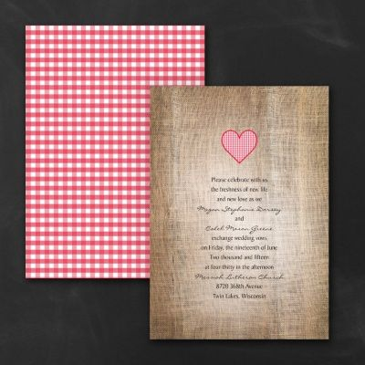 Red White and Blue Wedding IDeas - Love Gingham - Invitation - Cherry | Occasions In Print, LLC (Invitation Link - http://occasionsinprint.carlsoncraft.com/Wedding/Wedding-Invitations/3254-TWS23645CX-Love-Gingham--Invitation--Cherry.pro)