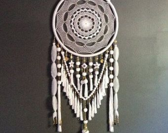Large White and Gold Beads & Jewels Dreamcatcher by GoldenDreamers