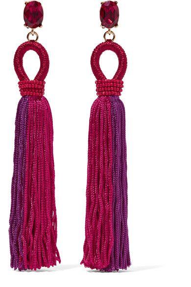 Oscar de la Renta | Tasseled silk, gold-plated and Swarovski crystal clip earrings | NET-A-PORTER.COM