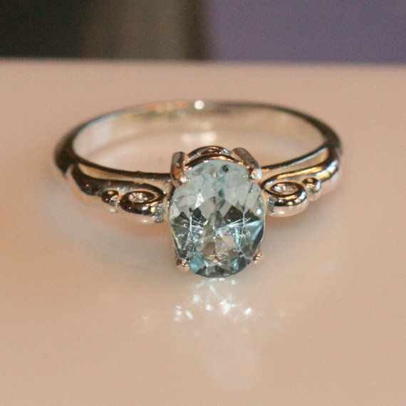 Blue Topaz Ring, Sterling Silver Ring, Pinky Ring, Size 4 Ring ,