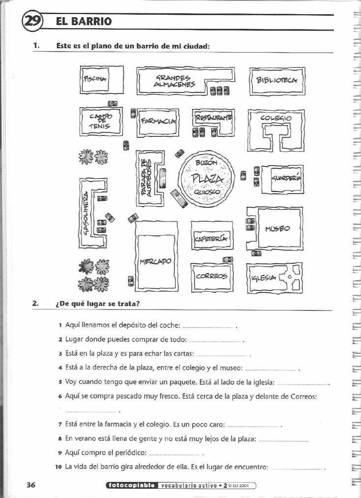A1 - Dar y pedir indicaciones: Adaptar como ejercicio A/B para nivel A1 (solo el mapa): 1. Eliminar los nombres (dejar solamente algunos, como referencia común). 2. Colorear los edificios (p. ej., gris y blanco). 3. Proporcionar los nombres de los edificios (p. ej., 5 para A, 5 para B) y pedirles que los coloquen. 4. A partir de las indicaciones del compañero, A completa con los nombres que tiene B, y viceversa.