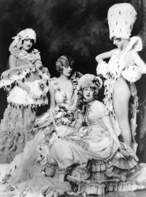 intothelakeofghosts:    I can't get over this stunning (and somewhat risque) photo of the  Ziegfeld girls. They all performed on broadway in the hit show the  Ziegfeld Follies in the 1910's and 20's. Described as lavish, high  class Vaudeville the shows were a booming success in their day.