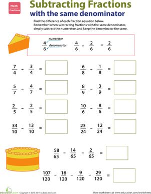 Take your third grader's skills with subtractions one step further by helping him learn how to subtract fractions with the same denominators. / Resta de fracciones con el mismo denominador.