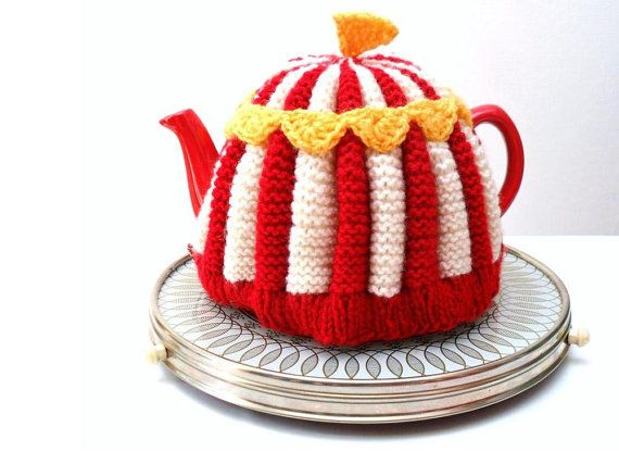 Knitted Circus Teapot Cosy Big Top Red Cream by MissMinoes