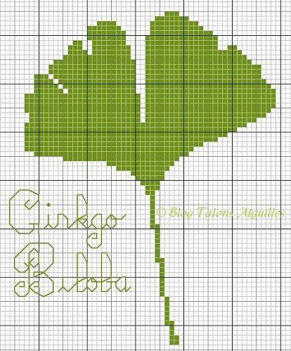 ginkgo biloba cross stitch point de croix