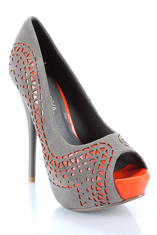 funky orange and grey cutout peep toe pump #cutee. Perfect for my ladies!! Now to find them!