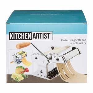 Maquina hacer Pasta fresca Kitchen-Artist MEN41 - manual - Máquina para hacer pasta fresca de calidad profesional Kitchen-Artist de acero inoxidable. Ecológica, no requiere electricidad. Lámina con 9 posiciones distintas, para preparar pasta en distintas medidas de 6 a 1 mm. para hacer fetuccini, spaghetti, lasaña y ravioli. Dos rodillos cortantes para la preparación de tagliatellis, lingüinis, fideos o spaghettis frescos. 1 molde de relleno ravioli - banda de 2 ravioli de ancho -. Sistema…