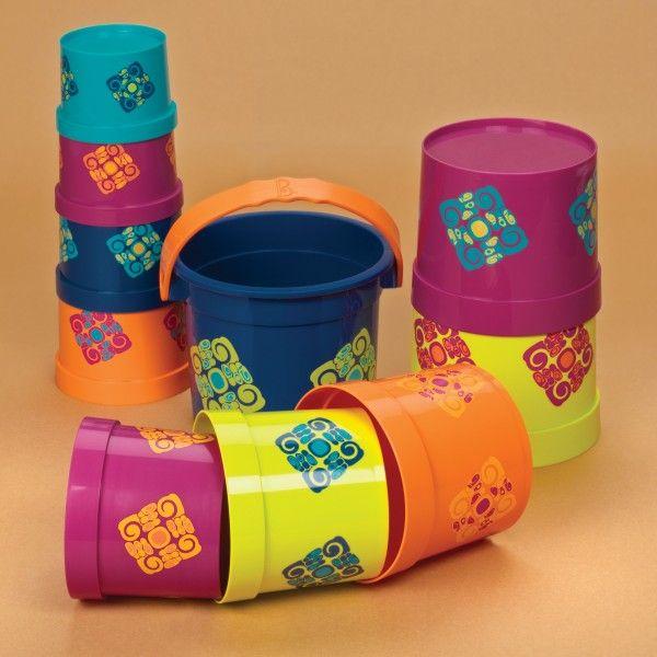 #PIRAMIDY Kubełki do piętrowania Bazillion Buckets, B.Toys - PomocnicyMamy.pl cena 90