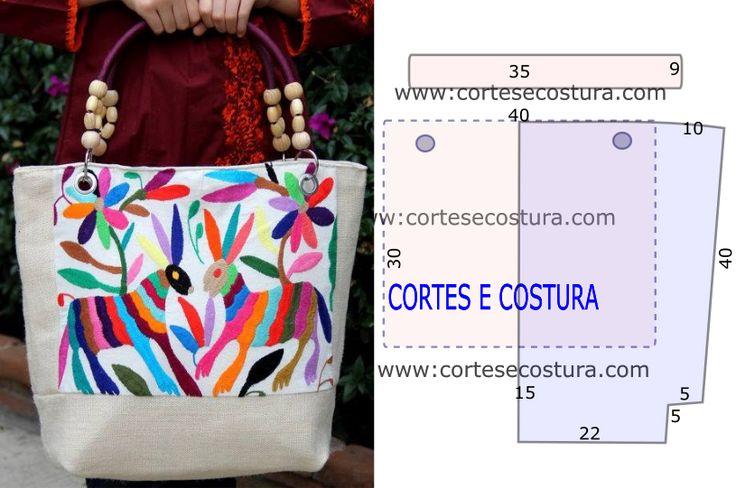 Faça os seus acessórios e aprenda aqui como desenhar o molde desta bolsa com bordados fácil de cortar e costurar. Use sarja ou outro tecido que seja...