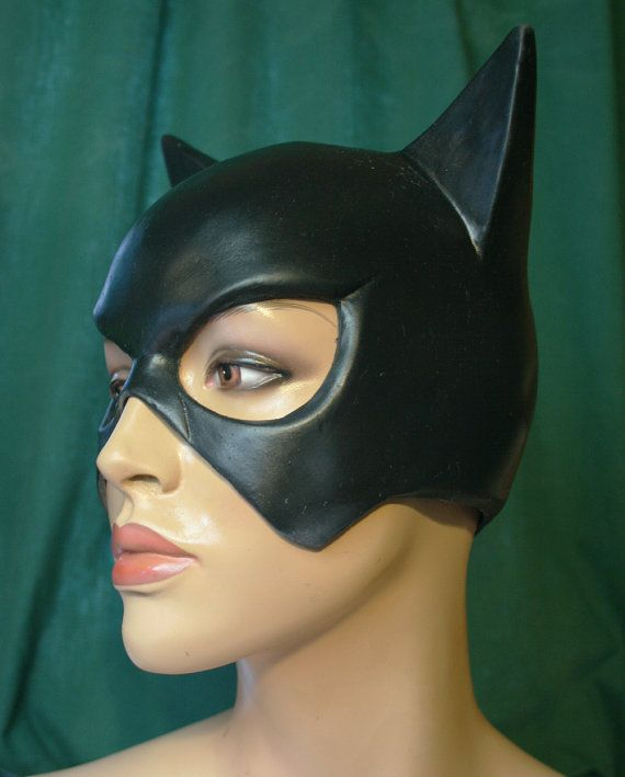 Black latex Catwoman mask by cinemasterystudios on Etsy