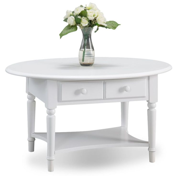 KD Furnishings Coastal Oval Coffee Table with Shelf
