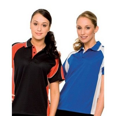 Ladies Contrast Trim Panel Knit Polo Min 25 - A 160gm Polo in 100% Kooldri Polyester Fabric that Features a Piped Sleeve Panel for Additional Monogramming. #PoloShirts  #PromotionalProducts  #PromotionalPoloShirt  #CooldryPoloShirts #LadiesPoloShirt