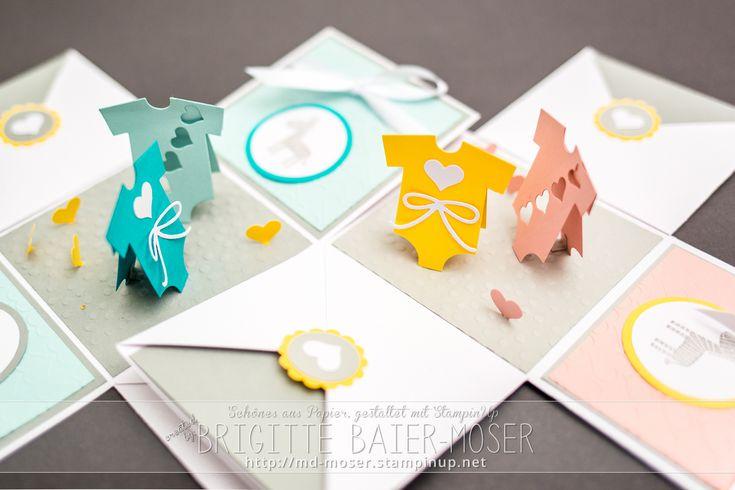 Baby-Explosionsboxen mit Baby-Wäsche. Hergestellt von Brigitte Baier-Moser mit Bastelwerkzeug von Stampin'Up!