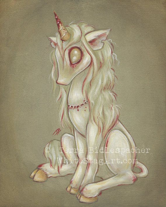 Zombie goth undead unicorn print - girl fantasy artlowbrow  - cute big eye- Zombicorn