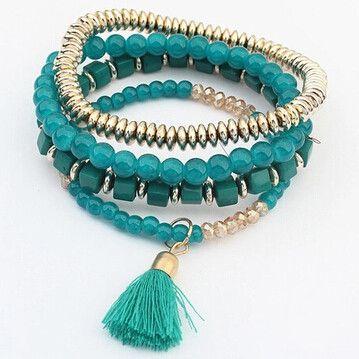 Beaded Tassel Elastic Charm Bracelets
