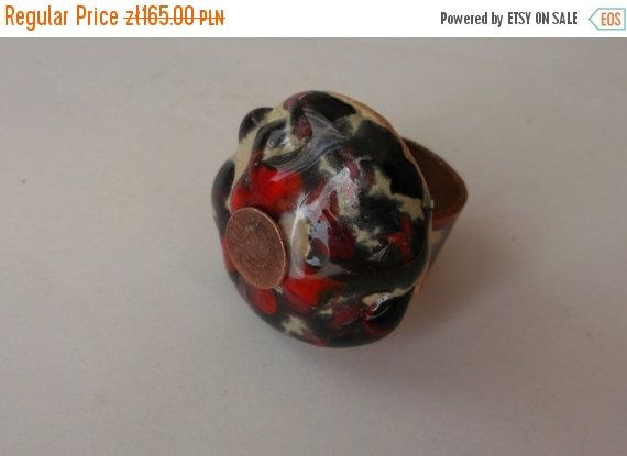 Red ring Ceramic jewelry   Boho chic jewelry eco by fripperyart