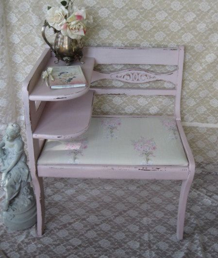 Shabby Chic Gossip Bench Telephone Stand Gossip seat Shabby French Telephone Table gossip table vintage 1940's Rachel Ashwell fabric, SCT on Etsy