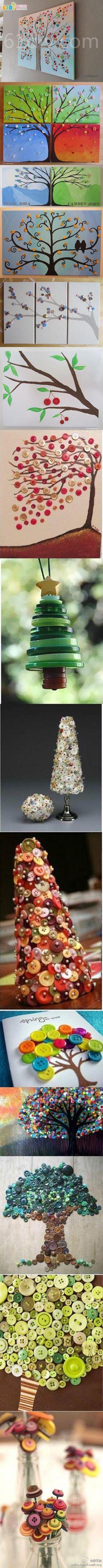 Creative Button Crafts - Trees | iCreativeIdeas.com Like Us on Facebook ==> https://www.facebook.com/icreativeideas