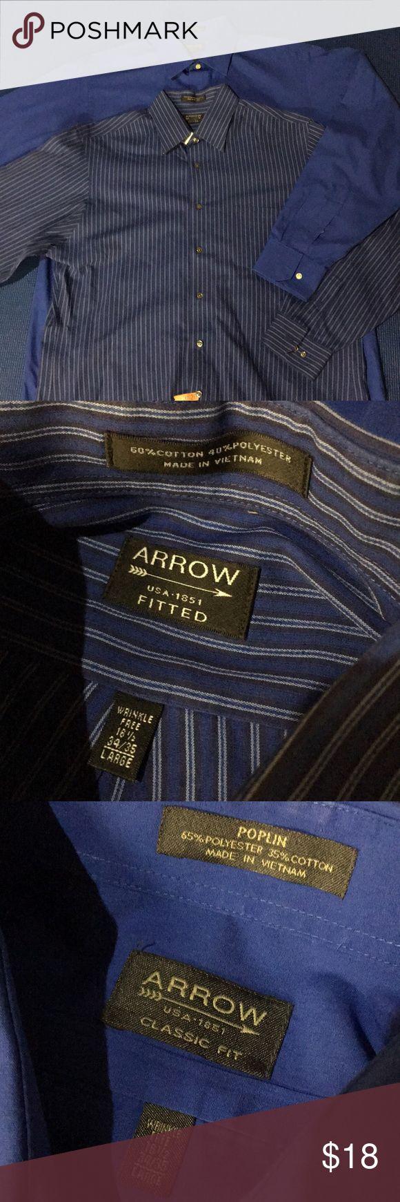 Men's Arrow Shirt Bundle Wrinkle free. 18 1/2, 34/35 size large. Freshly dry cleaned. Arrow Shirts Dress Shirts