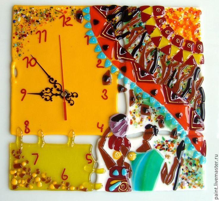 Купить Часы настенные. Африка! Фьюзинг. Стекло. - африка, африканский стиль, африканские мотивы, интерьер