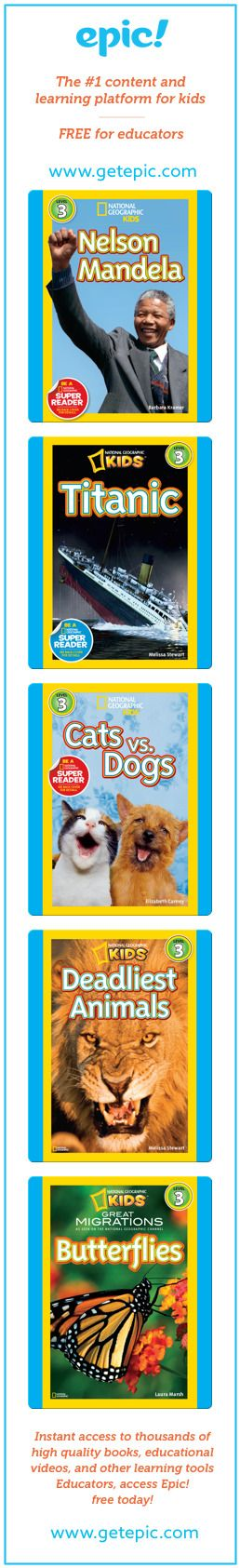 National Geographic Kids 7-9 - Titles in this collection: National Geographic Readers: Nelson Mandela, National Geographic Readers: Titanic, National Geographic Readers: Cats vs...