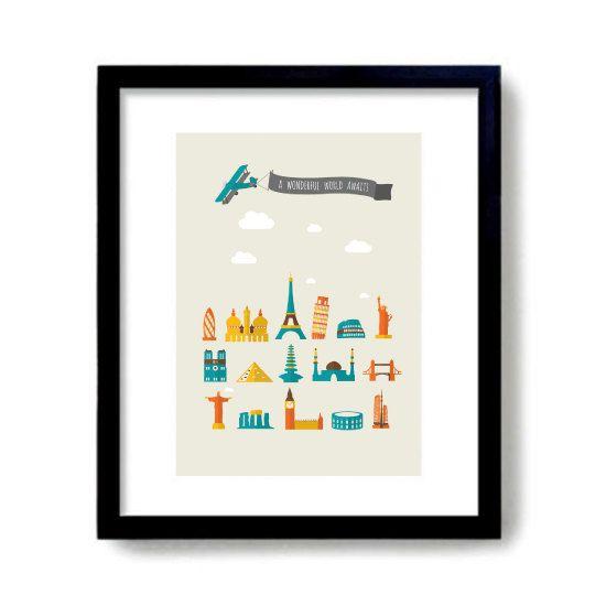 A Wonderful World Awaits Travel Print World Landmarks Print