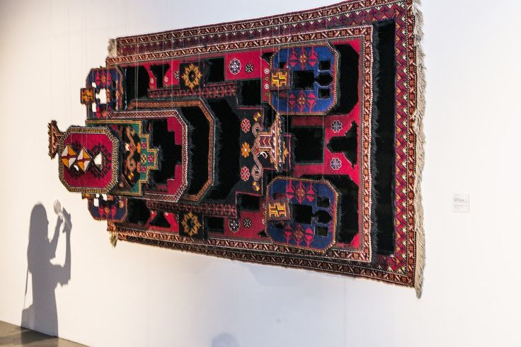"""Faig Ahmed, 'Gravity and Antigravity' installation from the """"Exploring Inward"""" exhibition at Louise Blouin Foundation, 2014, handmade wool carpet, 120 x 250 cm. Photograph by Nathan Browning."""