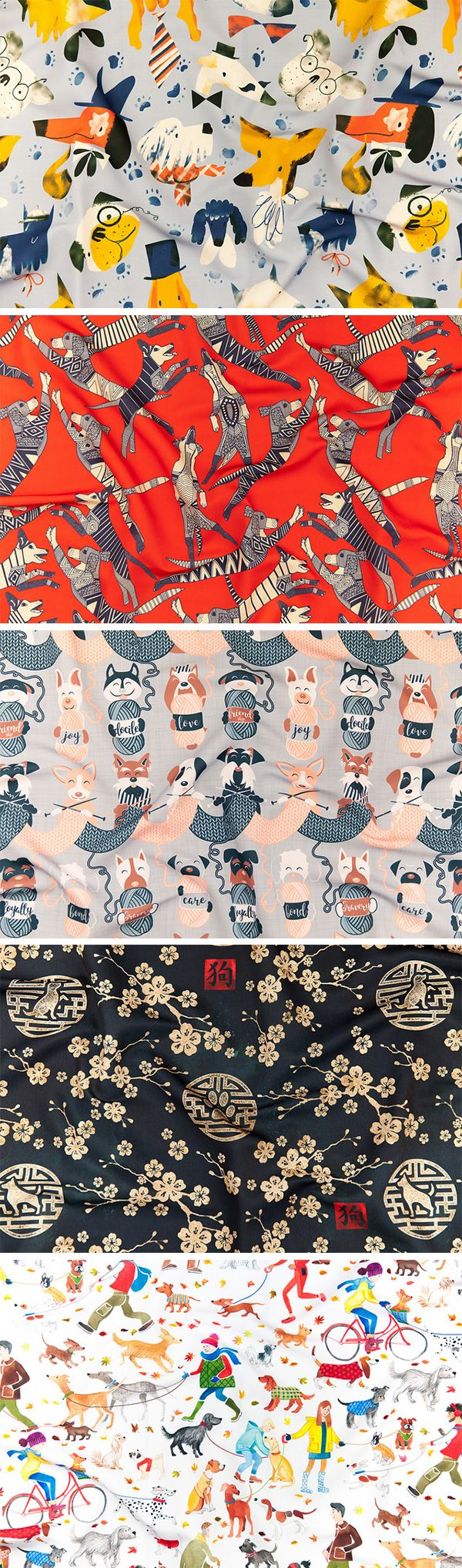Announcing the Year of the Dog Challenge Winners - February's celebration of the Lunar New Year also welcomes a new zodiac sign, and 2018 is the Year of the Dog. For this week's design challenge, designers were inspired by their 4 legged friends and what the Year of the Dog means to them. #dogs #fabric #doglover #dogmom #dog