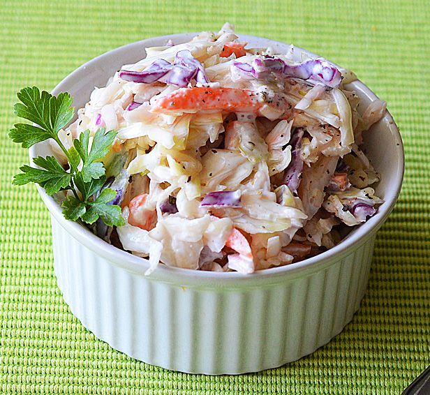 This creamy vegan coleslaw is easy to make and can be stored in the fridge for several days. Perfect for summer parties or picnics!