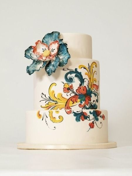Rosemaled Cake! I love it! Cake Wrecks - Home - Sunday Sweets: Orange & Teal (reds, golds and blues for Christmastime?)