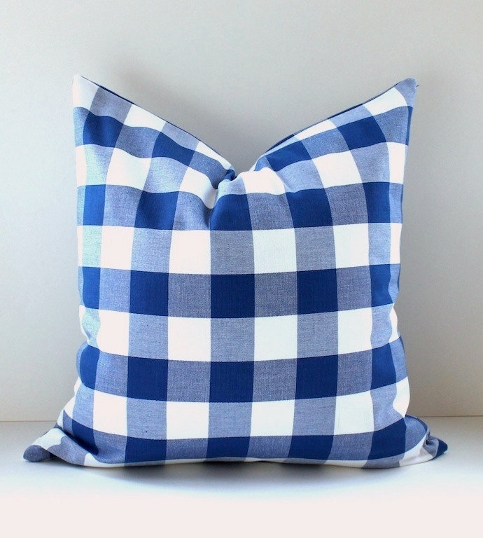 Modern Plaid Pillow : Modern Plaid Check Gingham Designer Pillow Cover 18x18 Navy Royal Blue White Accent Throw ...