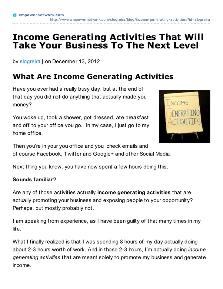 income-generatingactivitiesthatwilltakeyourbusinesstothenextlevel by Manifesting Prosperity Marketing via Slideshare