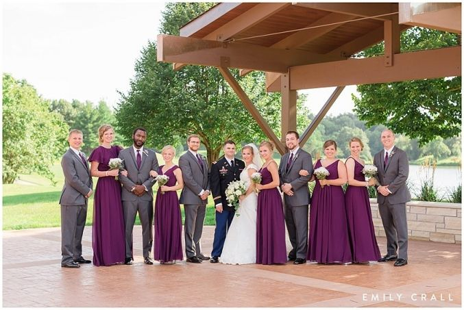 Brown Deer Golf Club summer wedding; purple & yellow wedding colors; military wedding; bridal party photos