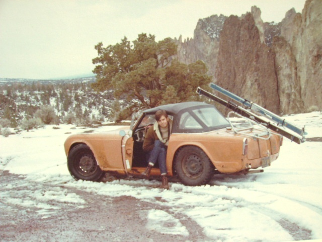 the TR4 at Smith Rock, 1969