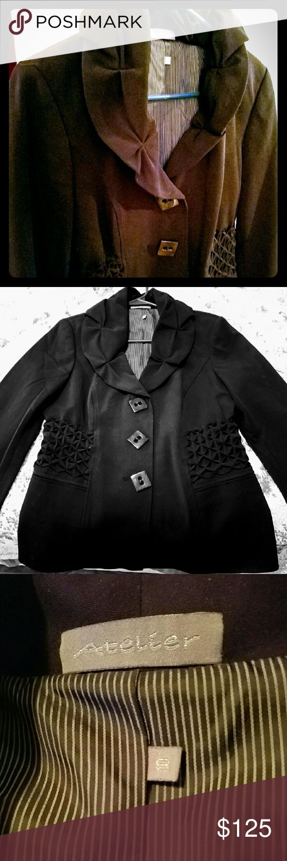Atelier Womens Suit Coat All black, never worn suit coat. Jackets & Coats Blazers