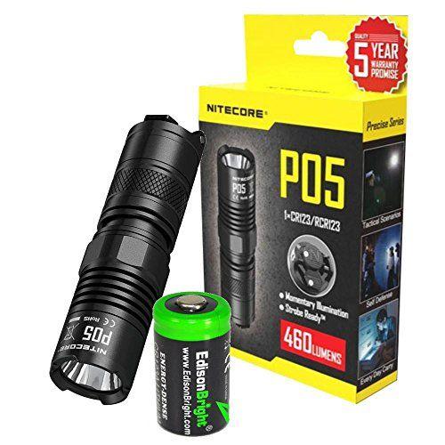 Cheap NITECORE P05 460 Lumens high intensity CREE LED Strobe Ready self defence flashlight ( Black body) with EdisonBright CR123A Lithium Battery https://besttacticalflashlightreviews.info/cheap-nitecore-p05-460-lumens-high-intensity-cree-led-strobe-ready-self-defence-flashlight-black-body-with-edisonbright-cr123a-lithium-battery/