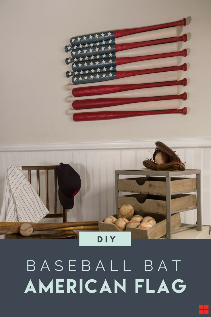 Can you think of a better way to celebrate our freedom than an All-American DIY project? Varathane Wood Stain and a dozen wooden baseball bats--all made in the USA and all you need to create this patriotic wall art for your own home. Make this baseball bat American flag for your bedroom, living room or entry way in a few simple steps with these free DIY plans from Rust-Oleum. 🇺🇸