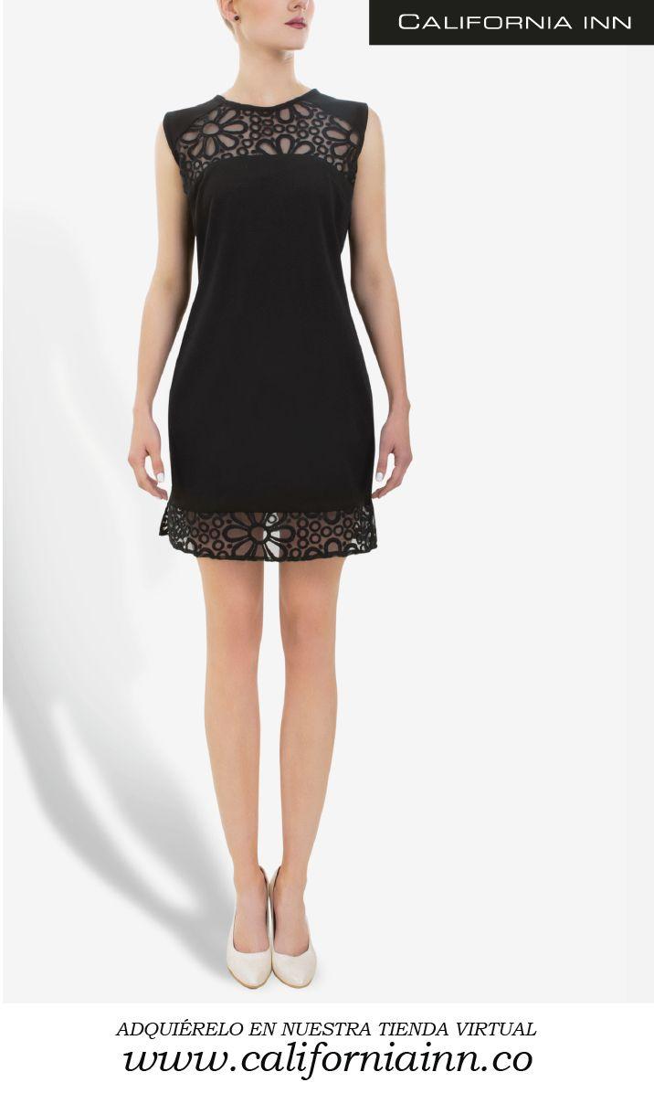 Vestido Blonda Tonic, estilo talego. Perfecto para ocasiones especiales. Colores Blanco y Negro.