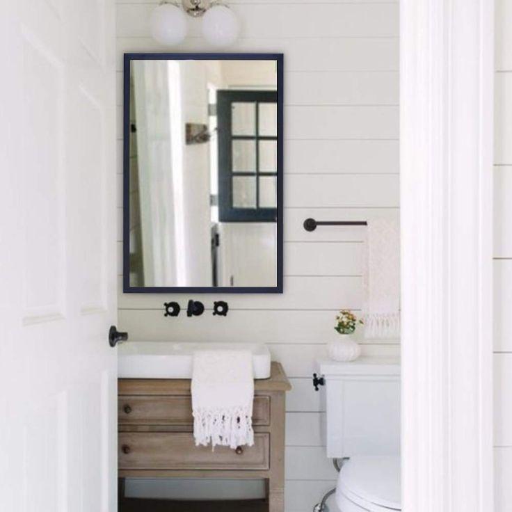 Bonnlo 24 x 36 black rectangle mirror for wall aluminium