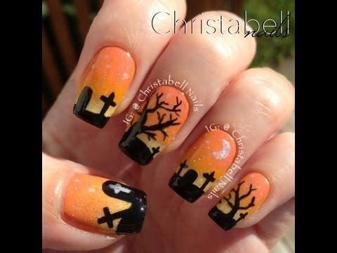 nail art - scena di halloween con cimitero  #nailart #nailarthalloween