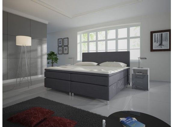 Boxspring Sona is zeer compleet, heeft een moderne uitstraling en staat garant voor een comfortabele nachtrust. Dit model beschikt over een hoofdbord, box met stevige poten, bonellveringmatras en topdekmatras. De gehele boxspring is bekleed met een sterke stof in een grijze kleur. Deze is verkrijgbaar in 140x200 / 160x200 / 180x200 cm.