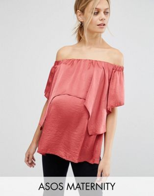 ASOS Maternity Satin Bardot Top with Double Layer