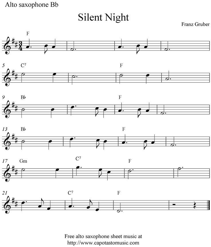 Free Sheet Music Scores: Silent Night, free Christmas alto saxophone sheet music notes